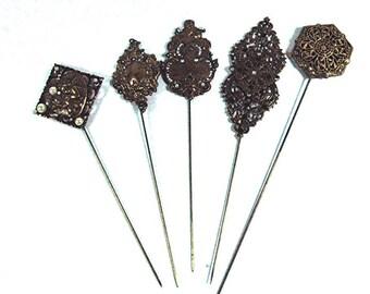 Collection of 5 Hidden Heart Hatpins Brass