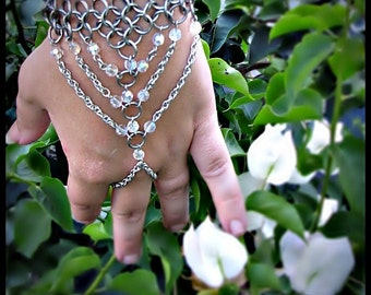 The Deluxe Empress Handweb  Chainmail Clear Crystal AB slave bracelet