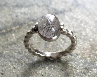 Rutilated Quartz Ring, Black Rutilated Quartz, Pandora Band, Stackable Ring, Solid Silver Ring, Sterling Silver Ring, Rutilated Quartz