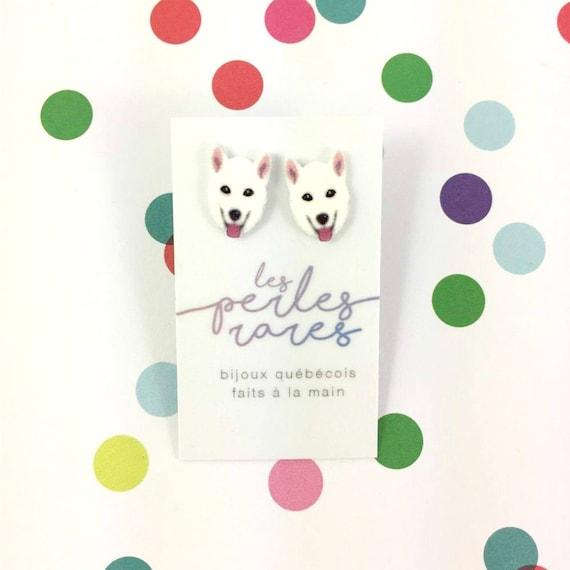 samoyed dog,  white dog earring, dog,  hypoallergenic, plastic, stainless stud, handmade, les perles rares