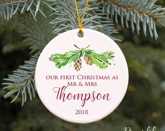 Our First Christmas as Mr and Mrs Ornament First Christmas Ornament Married Wedding Gift Newlywed Gift Personalized Christmas Ornament