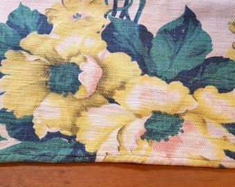 Vintage Barkcloth Towel Yellow Green Floral
