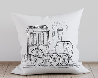 Nursery Pillow Cover. Train Pillow Cover. Boys Nursery Pillow. Nursery Decor. Personalize Pillow Cover. Decorative Pillow