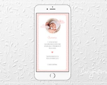 Digital invitation-Whatsapp-baptism girl, pink clouds