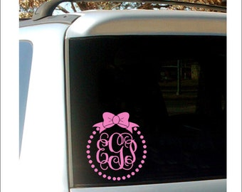 Monogram Car Decal Monogram With Bow Pearl Border Vinyl Decal - Monogram decal for car window