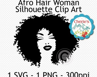 Afro Hairstyle Woman Silhouette | Woman Cameo | African American Woman Silhouette | African Hairstyle Clip Art | Digital Clip Art | Cliparts