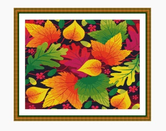 Cross Stitch Pattern, Modern Cross Stitch - AUTUMN LEAVES cross stitch chart - Instant download PDF