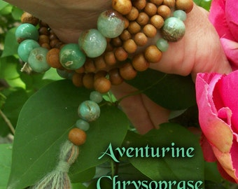CHRYSOPRASE & SANDALWOOD Beaded Bracelet ~ Japa Mala Bracelet