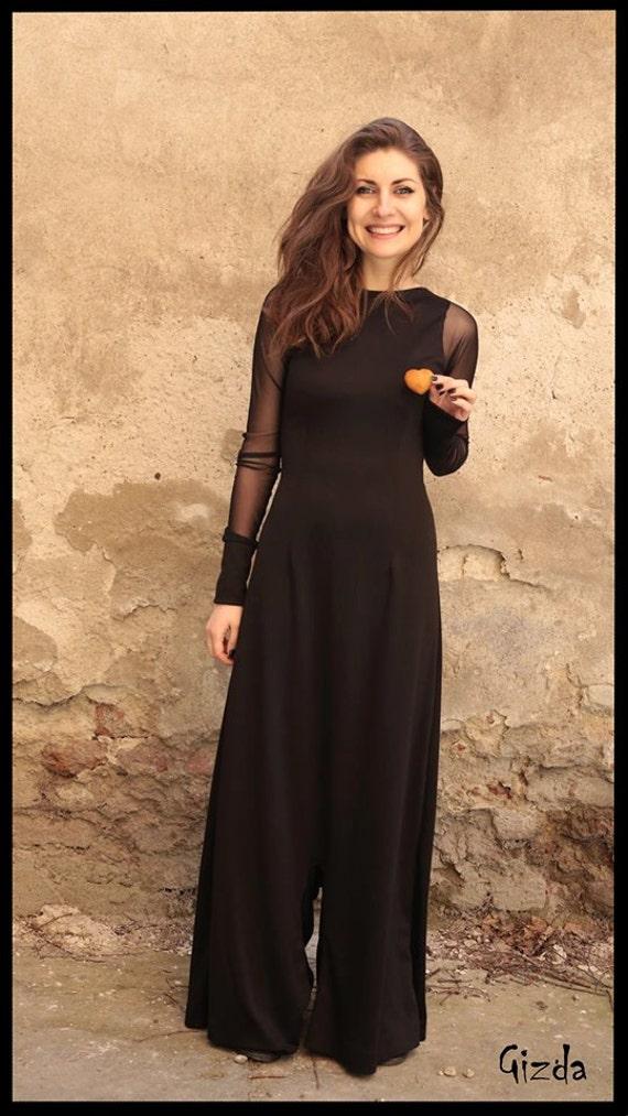 Blue Dressy Plus Jumpsuit: Plus Size Jumpsuit Cocktail Dress Long Sleeve Dress Black