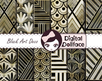 Art Deco Digital Paper, Pattern Design, Roaring 20s Party Decorations (DIY Printable), Black and Gold Scrapbook Paper