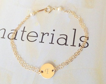 Initial bracelet (14k gold filled) with freshwater pearls