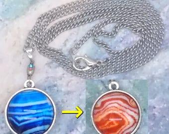 Rock Strata Pattern Reversible Pendant and Necklace ~ Rhinestone Swivel ~ Silver-tone