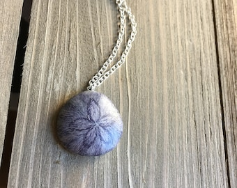 A 'Live' Sand Dollar Necklace - Fuzzy Goodness - Silver Chain - Made to Order