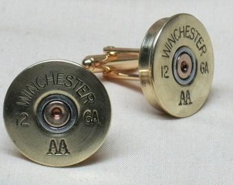 THIN Shotgun Shell Cufflinks Winchester 12 Gauge Brass - Wedding Gift Best Man Cufflinks