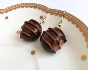 Bitten Chocolate Earrings, Bitten Chocolate Truffle Earrings, Chocolate Dangle Earrings, Candy Earrings, Mini Food Earrings, Miniature Food
