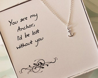 Sterling Silver Anchor Necklace, Valentine Gift, Gift for bridesmaids, bestfriend gift, love, message jewelry - box necklace