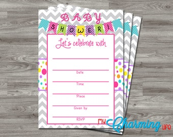 INSTANT DOWNLOAD - Printable Baby Shower Fill In Invitation 5x7  - Banner, Chevron, Polka Dots