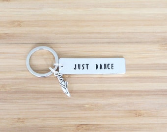 hand stamped keychain   just dance