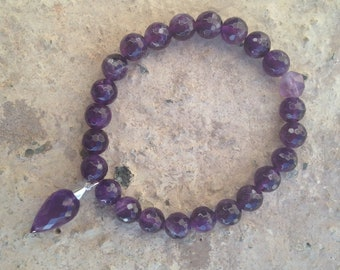 Amethyst Dew Drop Stretch Bracelet