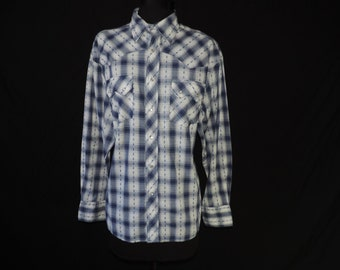 blue plaid pearl snap shirt 70s navy striped button down men's rockabilly shirt large XL
