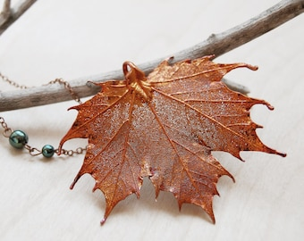 Large Fallen Copper Maple Leaf Necklace | REAL Maple Leaf Pendant | Copper Electroformed Pendant | Nature Jewelry