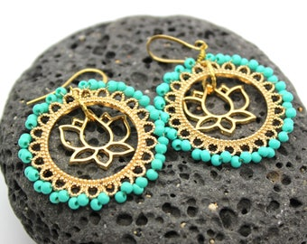 Beaded Lotus Earrings - Lotus Flower Earrings, Gold Earrings, Beaded Earrings, Yoga Jewelry, Hoop Earrings