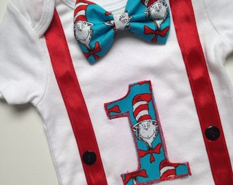 Dr. Zeus First Birthday Bodysuit, Cat in the Hat Birthday, 1st Birthday Outfit, First Birthday Bodysuit