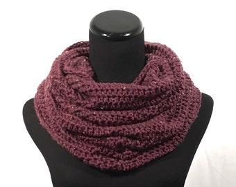 Purple Infinity Crochet Scarf