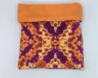 Fleece Sleep Sack, Cuddle Sack, Orange Fractal, for Hedgehogs, Sugar Gliders, Guinea Pigs, Rats and other Small Animals
