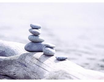 driftwood stones, beach photography, balancing stones, zen rocks, fine art photography, bathroom wall art, 16x24 print, minimalist art print