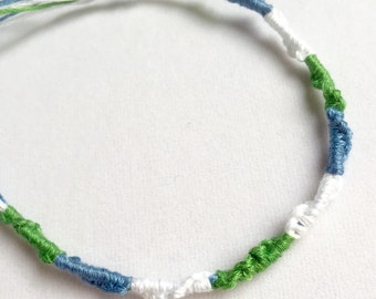 Handmade Friendship Bracelet Sky Blue Green White -Limited Edition Sale