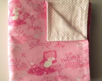 Pink Baby Bear - Flannel Blanket