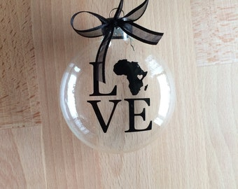 Africa LOVE Glass Christmas Ornament, Adoption, Travel, Mission