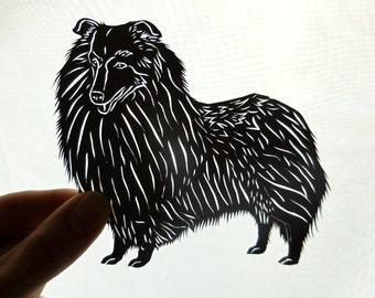Original Shetland Sheepdog Paper Cutting, Scherenschnitte, Dog Portrait, Sheltie Gift, Sheltie Collectible