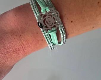 Bracelet suede flower print