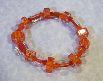 Orange and Red Furnace Cane Bead and Crystal Stretch Bracelet