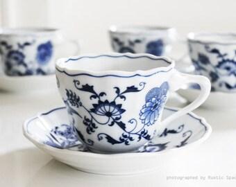 Vintage Blue Danube Teacups Set of 4