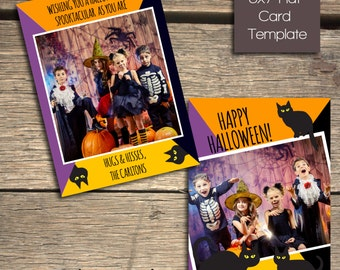 Happy Halloween- Black Cats - 5x7 Photoshop Card Template - INSTANT DOWNLOAD