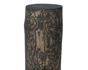 Dekosäule wooden column Design column stool Smoked oak tree