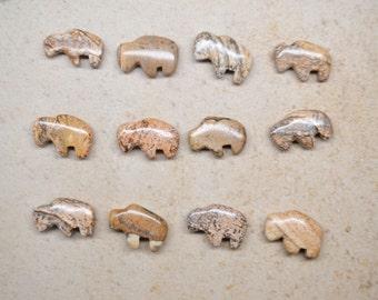 Zuni Fetish style Buffalo/Bison beads, 12 pcs Assortments-- in Picture Jasper & Black Onyx