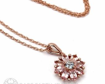 14K Flower Necklace Floral Pendant Pink Tourmaline Aquamarine Gold Bride Necklace Bridal October Birthstone