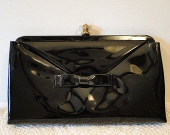 vintage black vinyl clutch  with clear clasp and bow