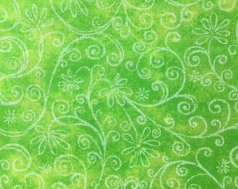 Floral Scroll on Green Mottled Fabric - Scrolled Vines on Green Mottled Print - Scroll Vines Quilt Fabric - Fabric Yardage