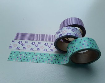 Set of 3 masking/washi tapes 15mmx3m in mint, purple and softpink