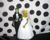 Zombie/Day of the Dead/Skeleton Couple Wedding Cake Topper with Custom Hair