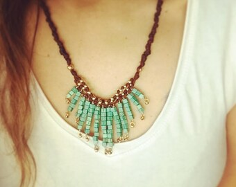 Boho necklace, Turquoise necklace, Tribal necklace, Boho crystals necklace, Statement boho necklace, boho chic necklace, Howlite necklace