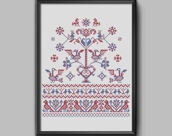 Zealand Birds - Traditional danish folk embroidery sampler pdf pattern for cross stitch