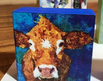 """Pop Art Cow Collectible """"How Now"""" Giclee Mini Block Print 4x4 Square Torn Paper Art by Robin Panzer Holiday Gift or Stocking Stuffer"""