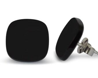 Onyx Stud earrings, Natural, 12 x 12 mm, 925 silver