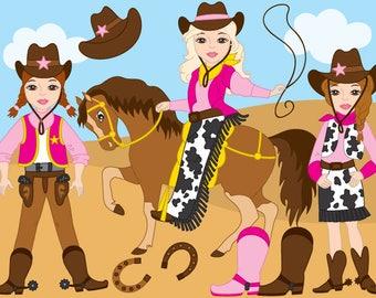 CowGirl Clipart - Digital Vector Wild West, Cowboy, Cowgirl, Western, Cowgirl Clip Art